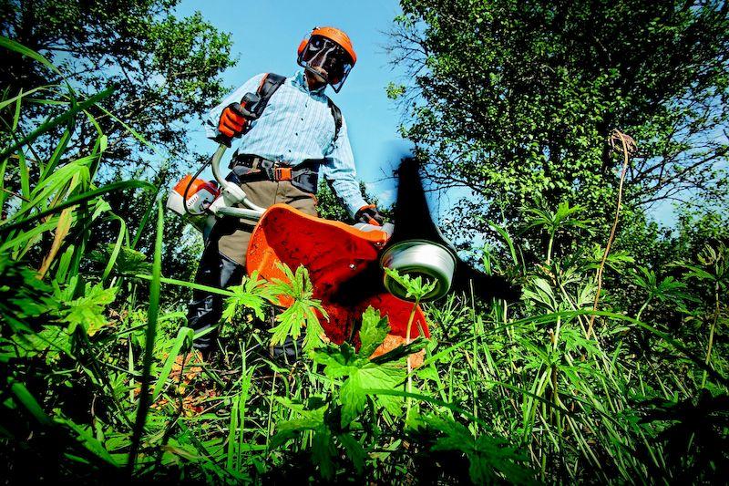покос травы на участке триммером